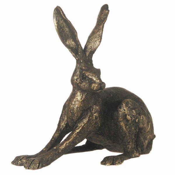 Crouching Hare - bronze finish