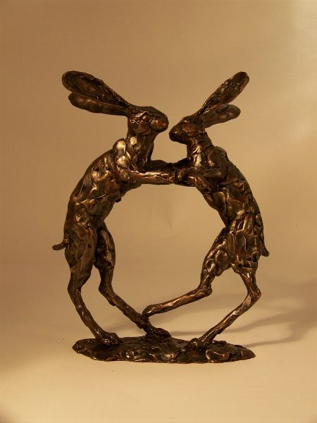 Boxing Hares - medium